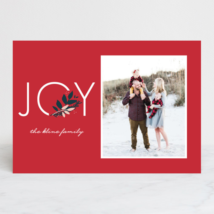 """Joy to You"" - Holiday Postcards in Berry by lena barakat."