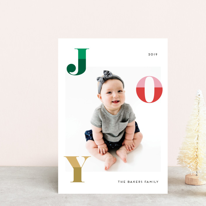 """Two Toned Joy"" - Holiday Postcards in Christmas Tree by Little Print Design."