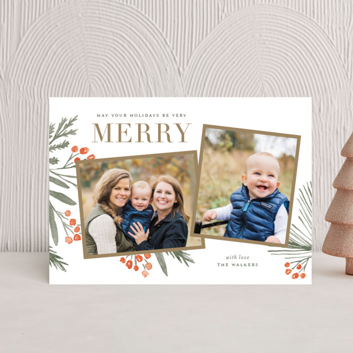 """Holidays Upon Us"" - Holiday Postcards in Festive Red by Oscar & Emma."