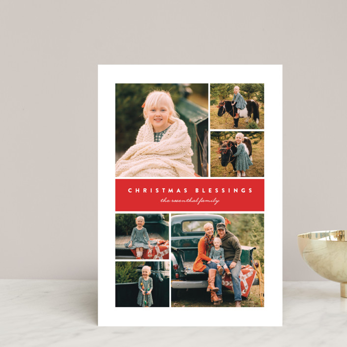 """""""Many Christmas Blessings"""" - Holiday Postcards in Poinsettia by Erica Krystek."""