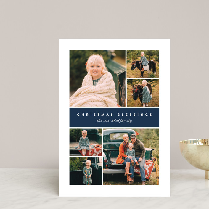 """Many Christmas Blessings"" - Holiday Postcards in Navy by Erica Krystek."