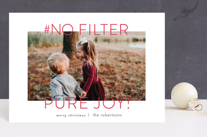 """""""no filter"""" - Funny Holiday Postcards in Berry by Carrie ONeal."""