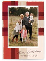 This is a red christmas postcard by Annie Clark called Paper Cut Plaid with standard printing on signature in postcard.
