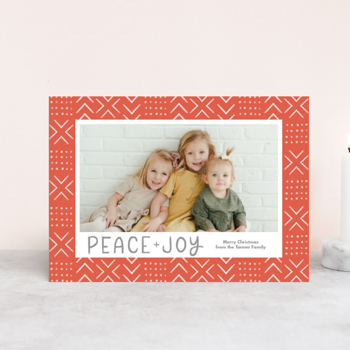 """""""Peaceful Pattern"""" - Bohemian Holiday Postcards in Tangerine by Something Noir."""