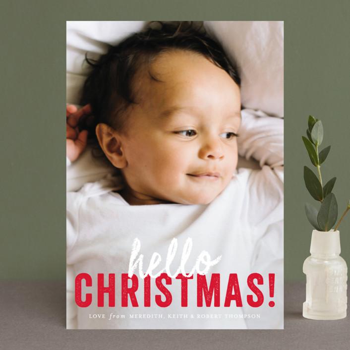"""hello Christmas"" - Holiday Postcards in Santa Claus by Sara Hicks Malone."