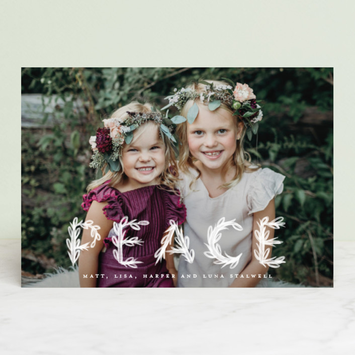 """""""Heavenly Peace"""" - Bohemian Holiday Postcards in Dove by Pink House Press."""