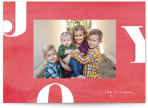 This is a red christmas postcard by Jessica Maslyn called Letters of Joy with standard printing on signature in postcard.