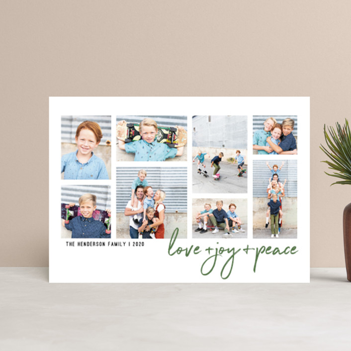 """Love + Joy + Peace"" - Holiday Postcards in Forest by Elena Wilken."