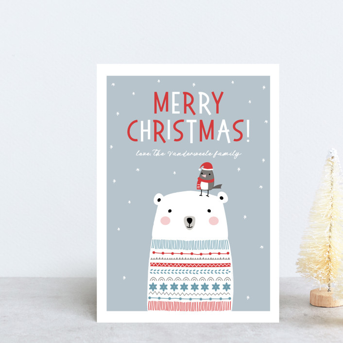 """""""Polar Bear Wishes"""" - Holiday Postcards in Dove by Stellax Creative."""