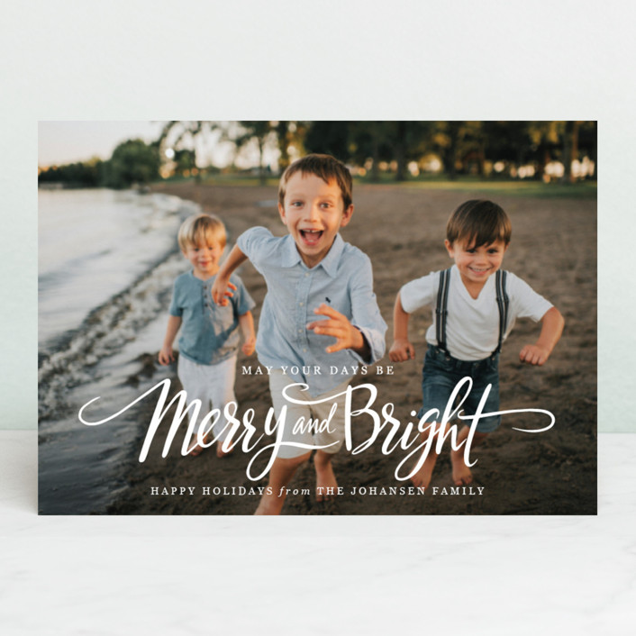"""Script Merry and Bright"" - Holiday Postcards in Snow by Jamie Schultz Designs."