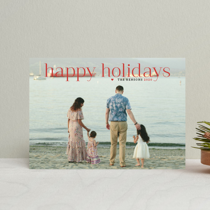 """Timeless Greeting"" - Holiday Postcards in Holly Berry by Alston Wise."