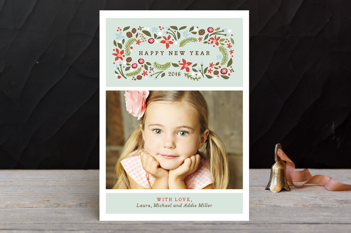 """""""Blushing Christmas"""" - Holiday Postcards in Mint by Jennifer Wick."""