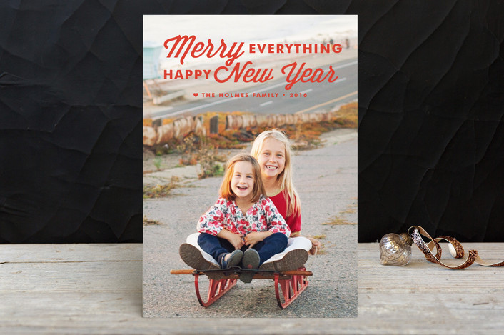 """""""Merry Always"""" - Bold typographic, Full-Bleed Photo Holiday Postcards in Bright Tomato by annie clark."""