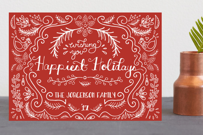 """""""Scandinavian Wishes"""" - Vintage Holiday Postcards in Berry by Emily Kariniemi."""