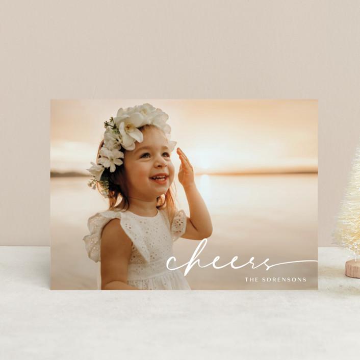 """Believe Script"" - Holiday Postcards in Snow by GeekInk Design."