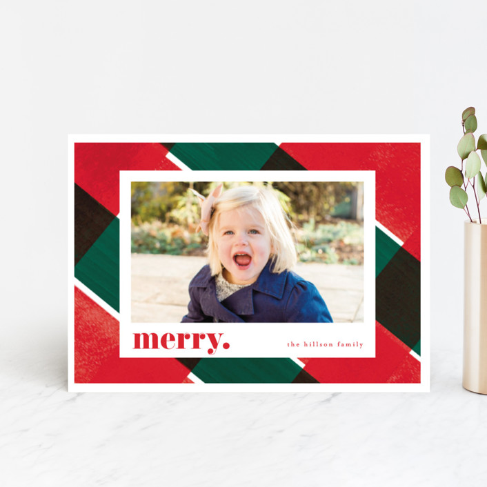 """""""Holiday Check"""" - Modern Holiday Postcards in Holly by Baumbirdy."""
