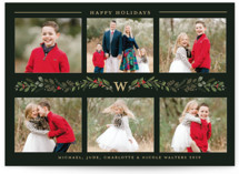 This is a green christmas postcard by Susan Moyal called Monogrammed Vine with standard printing on signature in postcard.