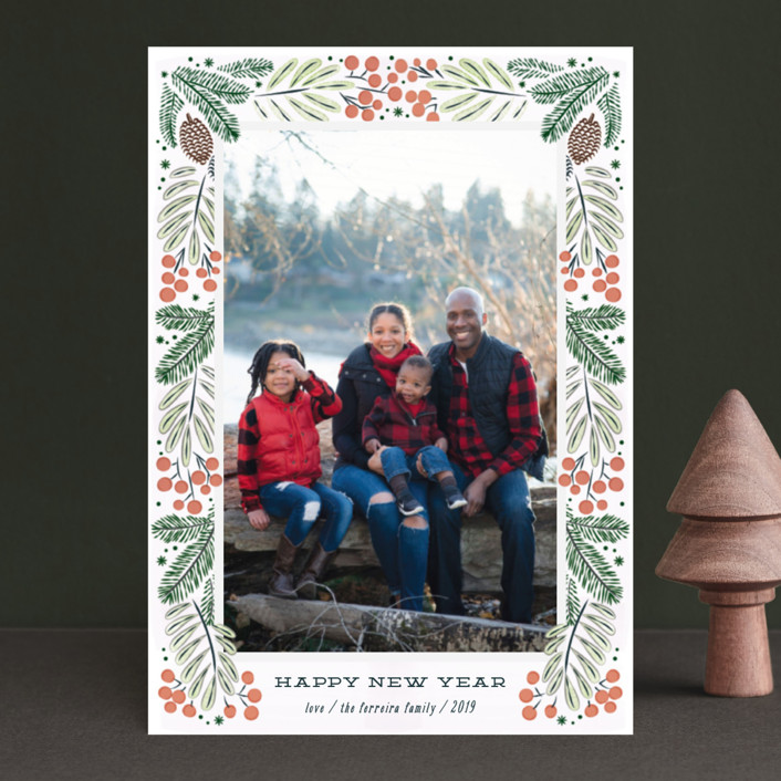"""""""Foliage wreath"""" - Holiday Postcards in Persimmon by Ana de Sousa."""