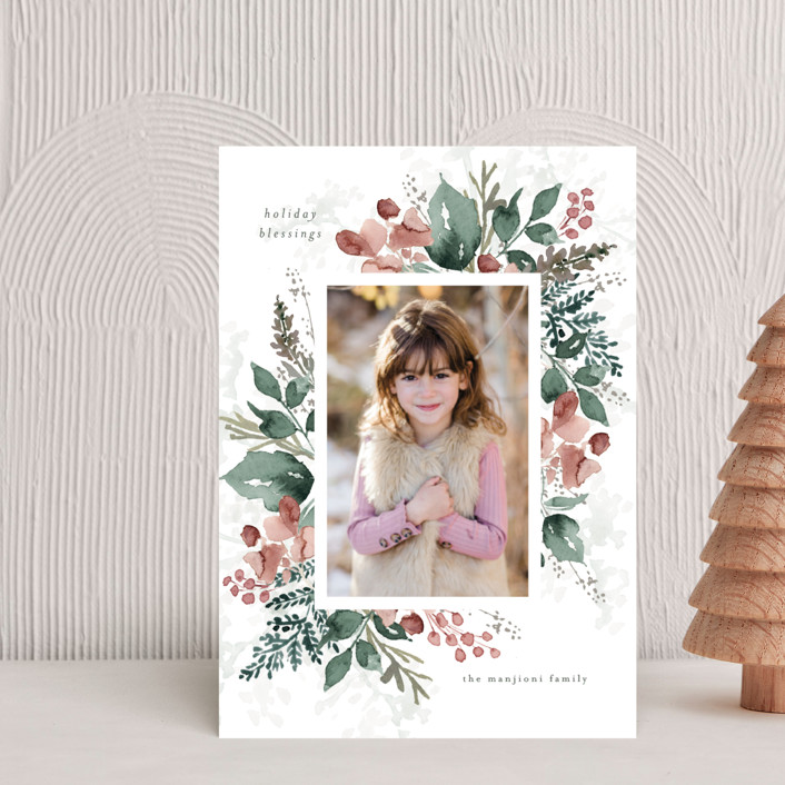 """""""Rejoice in Blessings"""" - Holiday Postcards in Rose by Chris Griffith."""