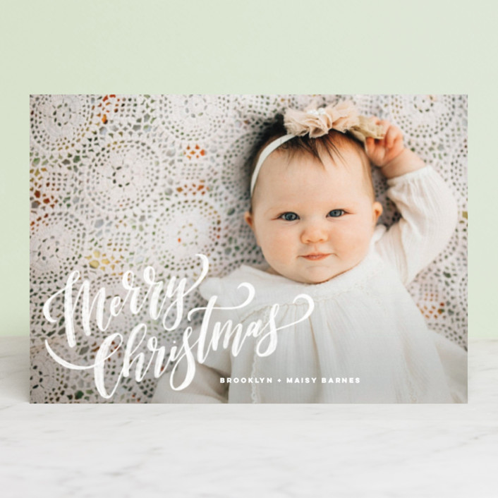 """Hand-Lettered Merry Christmas"" - Holiday Postcards in Vanilla by Wildfield Paper Co.."