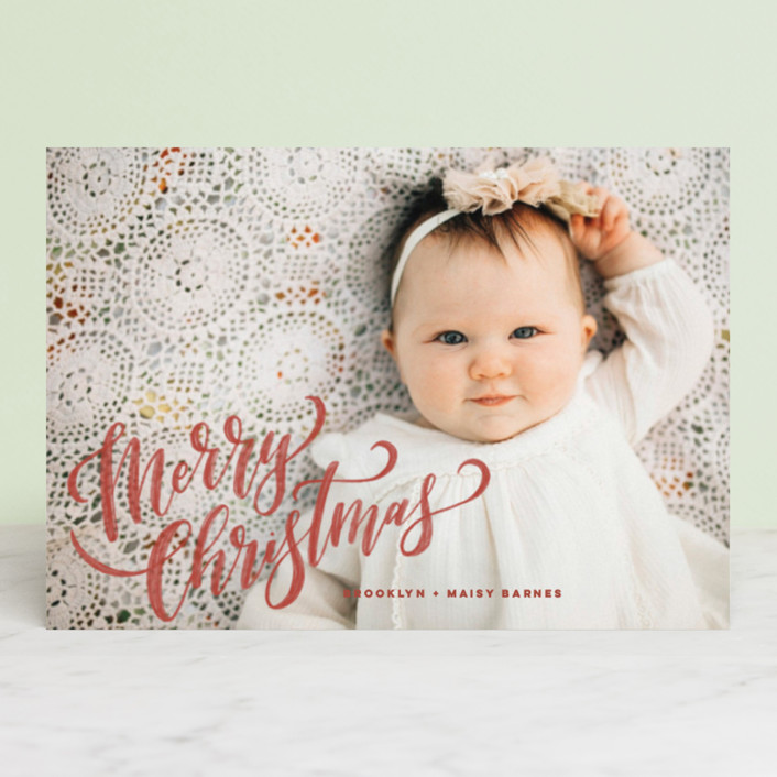 """Hand-Lettered Merry Christmas"" - Holiday Postcards in Flame by Wildfield Paper Co.."