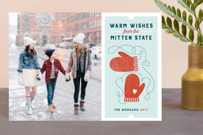 """Mitten State"" - Holiday Postcards in Winter Sky by Snow and Ivy."