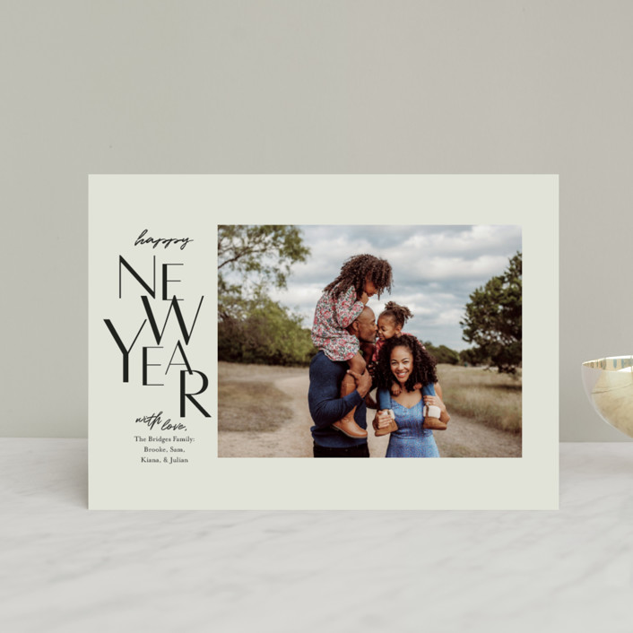 """""""Gallery Type"""" - Holiday Postcards in Sage by Laura Condouris."""