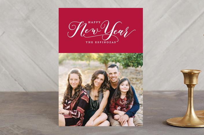 """""""Feliz Navidad"""" - Holiday Postcards in Cranberry by Hooray Creative."""