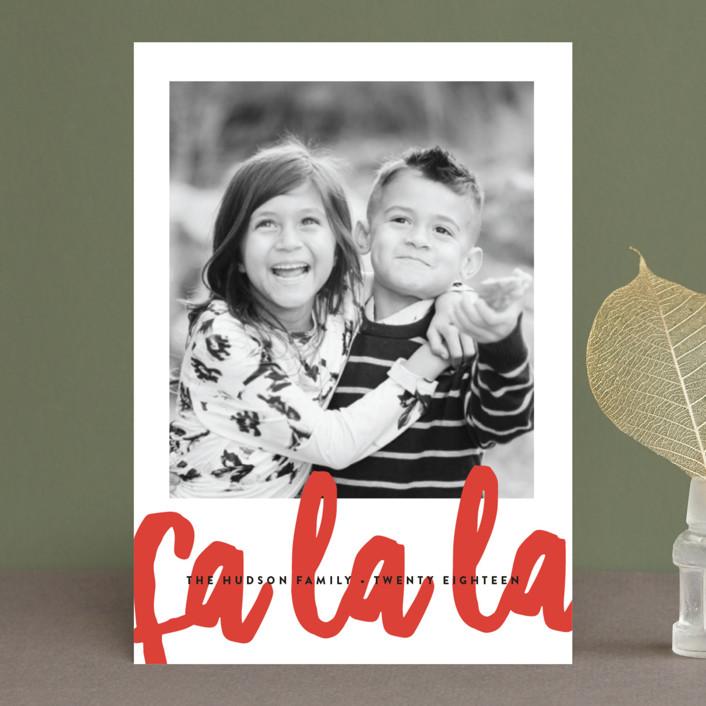 """""""Fa La La"""" - Modern Holiday Postcards in Pointsettia by Erica Krystek."""