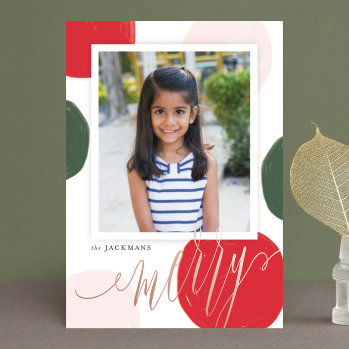 """Big Statement Dots"" - Modern Holiday Postcards in Mistletoe by Kristie Kern."