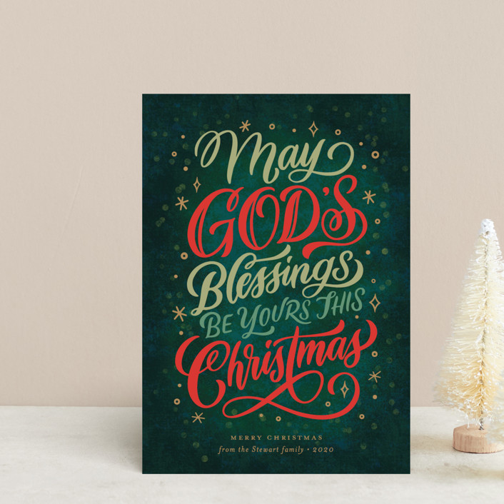 """God's Blessings"" - Vintage Holiday Postcards in Evergreen by Laura Bolter Design."