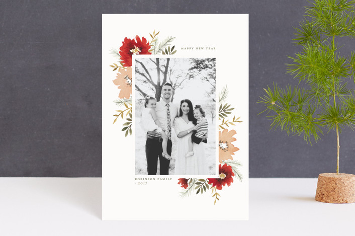 """Christmas Bouquet"" - Holiday Postcards in Poinsettia by Wildfield Paper Co.."