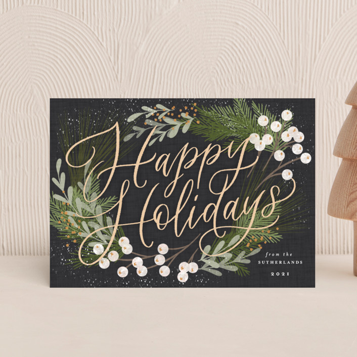 """""""Botanical Holidays"""" - Holiday Postcards in Charcoal by Erin German."""