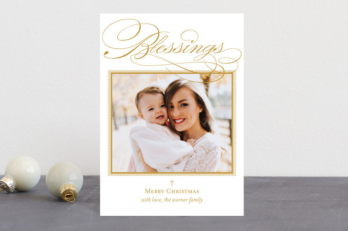"""Scripted Blessings"" - Holiday Postcards in Goldenrod by Coco and Ellie Design."