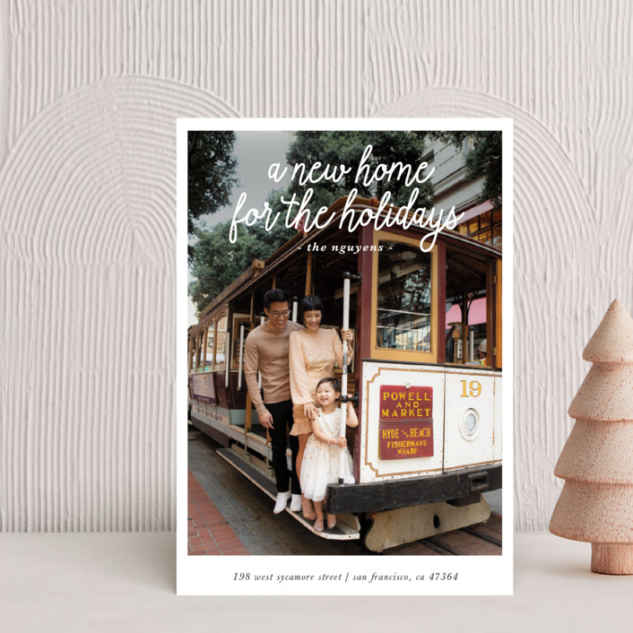 """A New Home for the Holidays"" - Holiday Postcards in Midnight by Christine Taylor."