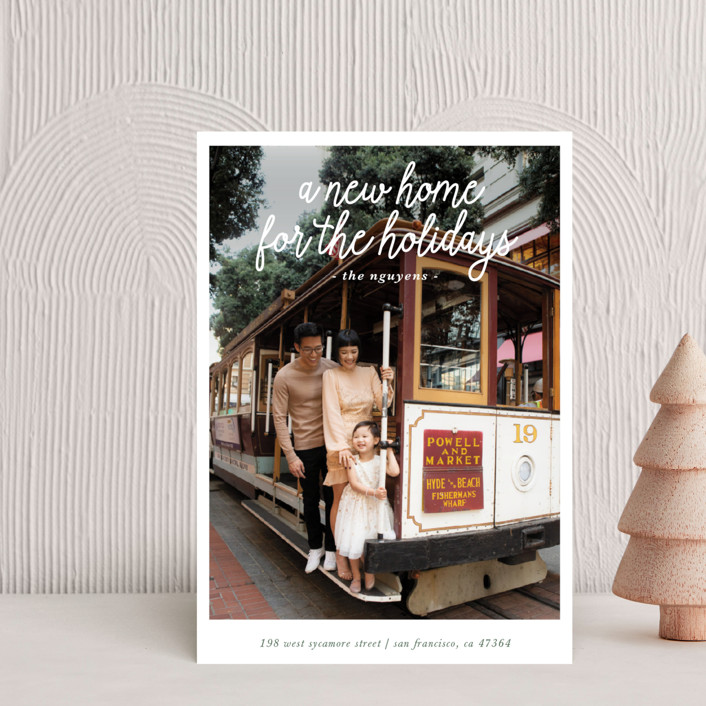 """A New Home for the Holidays"" - Holiday Postcards in Evergreen by Christine Taylor."