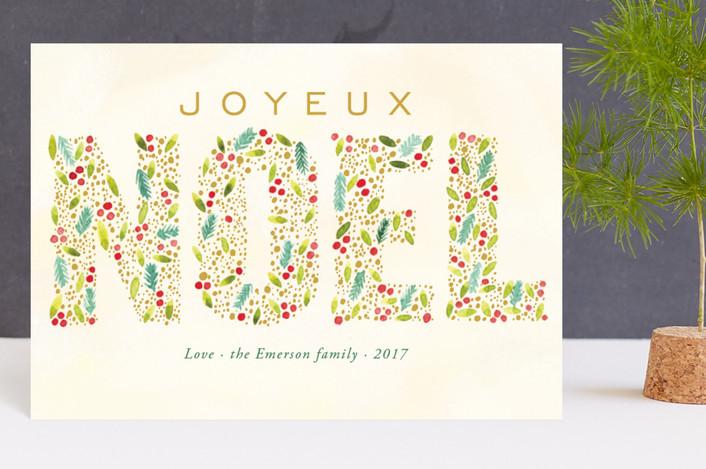 """Joyeux Noel"" - Holiday Postcards in Citron by Alexandra Dzh."