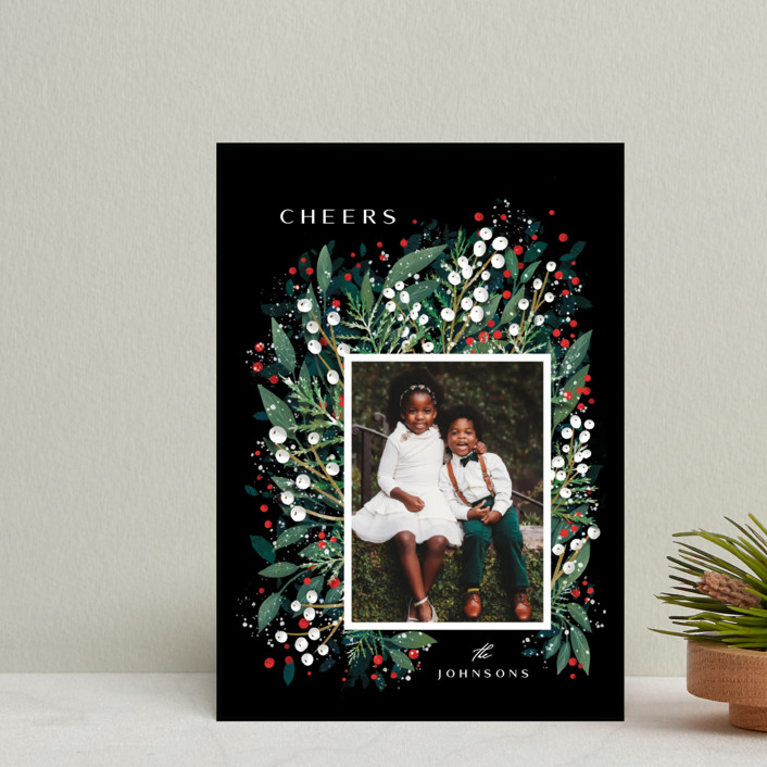 """""""First Flakes"""" - Holiday Postcards in Berry by Ana Sharpe."""