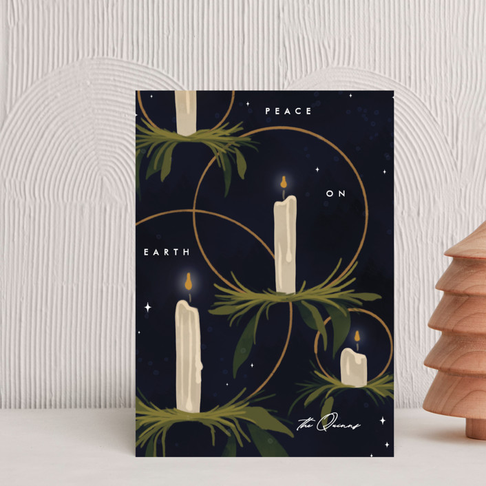 """""""Candlelight"""" - Holiday Postcards in Navy by Erin L. Wilson."""