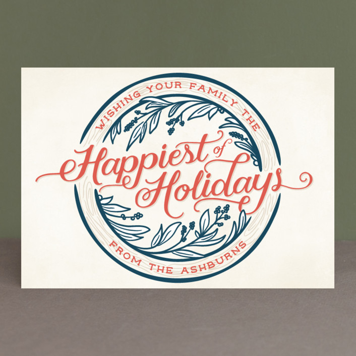 """Happiest of Holidays"" - Vintage Holiday Postcards in Candy Cane by GeekInk Design."
