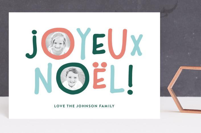 """""""Bold Noel"""" - Modern Holiday Postcards in Taffy by Jessica Maslyn."""