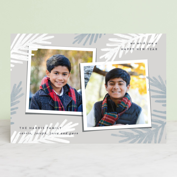 """""""Two of a Kind"""" - Holiday Postcards in Poinsettia by Hooray Creative."""