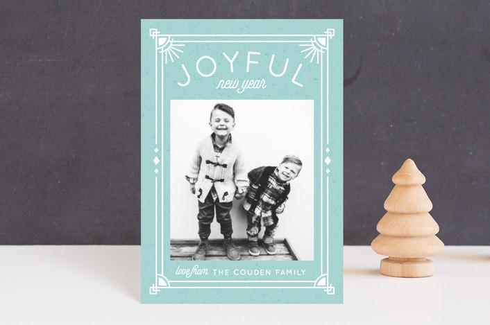 """Joyfully Said"" - Holiday Postcards in Seafoam by Cat Caudillo."