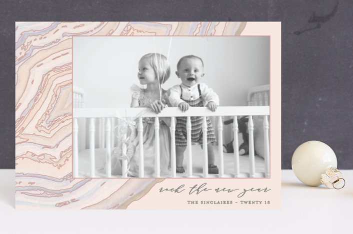 """""""Rock the New Year"""" - Bohemian Holiday Postcards in Blush by Kaydi Bishop."""