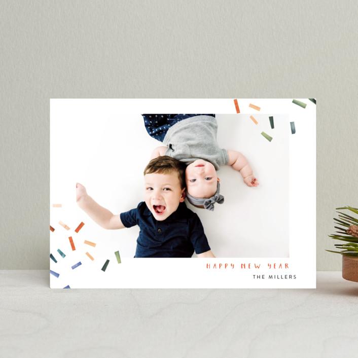 """Joyful Confetti"" - Modern Holiday Postcards in Poppy by Kelly Ventura."