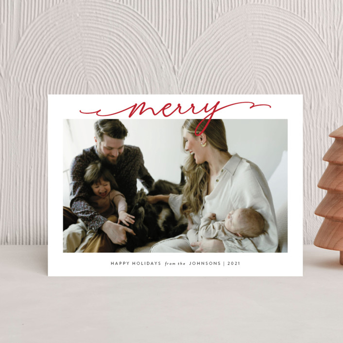 """""""Scripted Merry"""" - Holiday Postcards in Crimson by Kasia Labocki."""