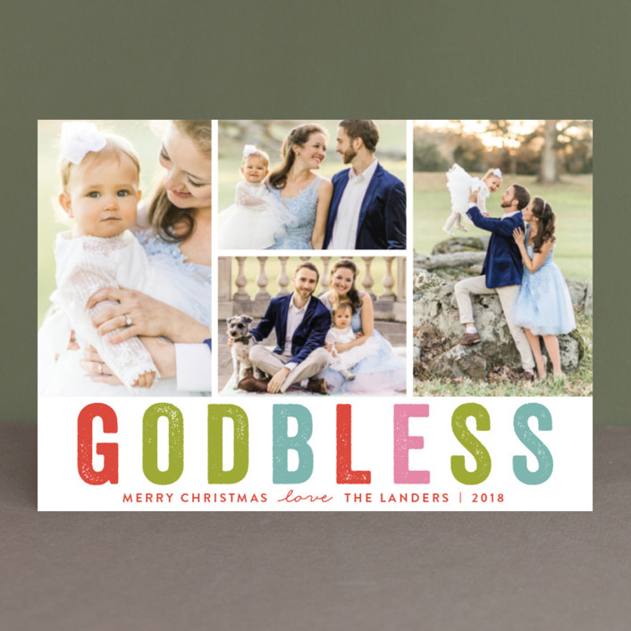 """""""God Bless """" - Holiday Postcards in Scarlet by Chasity Smith."""