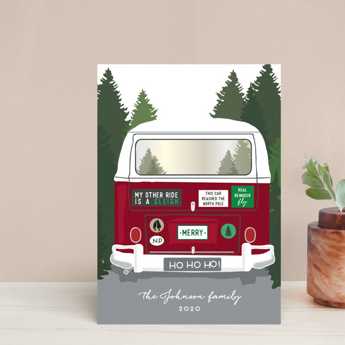 """Santa's Other Ride"" - Funny Holiday Postcards in Cherry by Heather Azano-Brown."