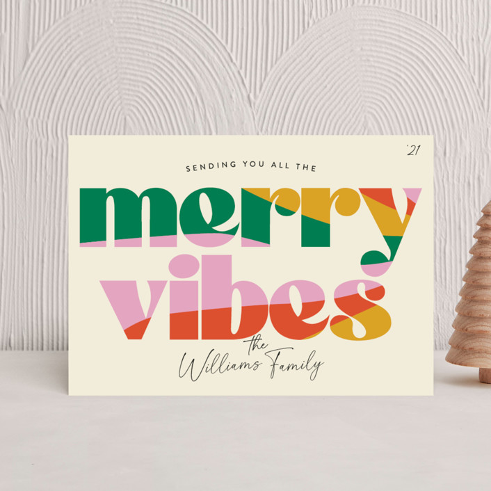 """""""Merry Vibes"""" - Vintage Holiday Postcards in Holiday Punch by Robert and Stella."""