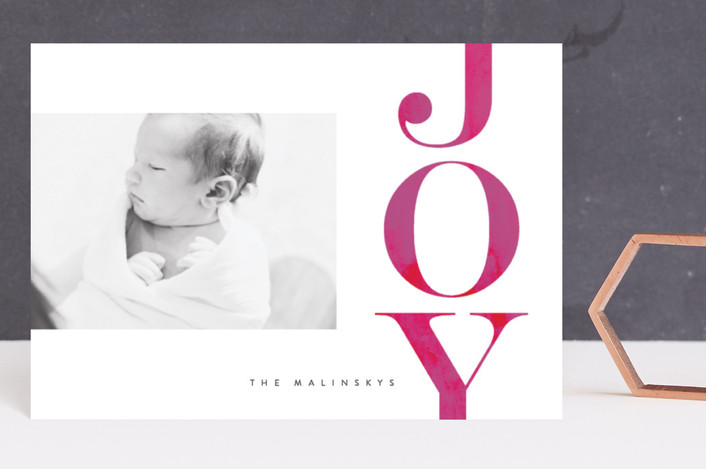 """Oversized Joy"" - Holiday Postcards in Magenta by Lori Wemple."